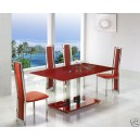 RED GLASS/CHROME TABLE 6 HIGHBACK CHAIRS