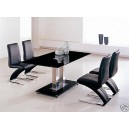 BLACK GLASS  DINING TABLE & 4 Z CHAIRS