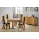 ZEUS SOLID OAK ROUND DINING TABLE + 4 CHAIRS