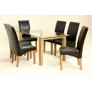ADINA (LARGE) CLEAR GLASS DINING TABLE + 6 CHAIRS