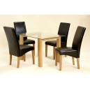 ADINA (SMALL) CLEAR GLASS DINING TABLE + 4 CHAIRS