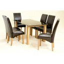 ADINA (LARGE) BLACK GLASS DINING TABLE + 6 CHAIRS