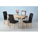 4ft OAK DINING TABLE 4 x LEATHER CHAIRS
